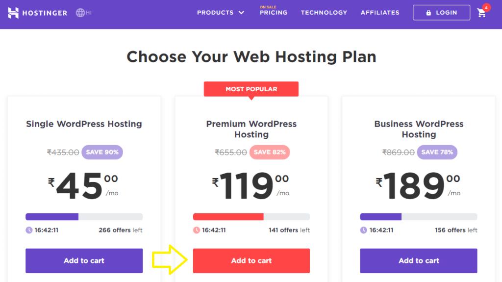 hostinger wordpress web hosting plan adding to cart